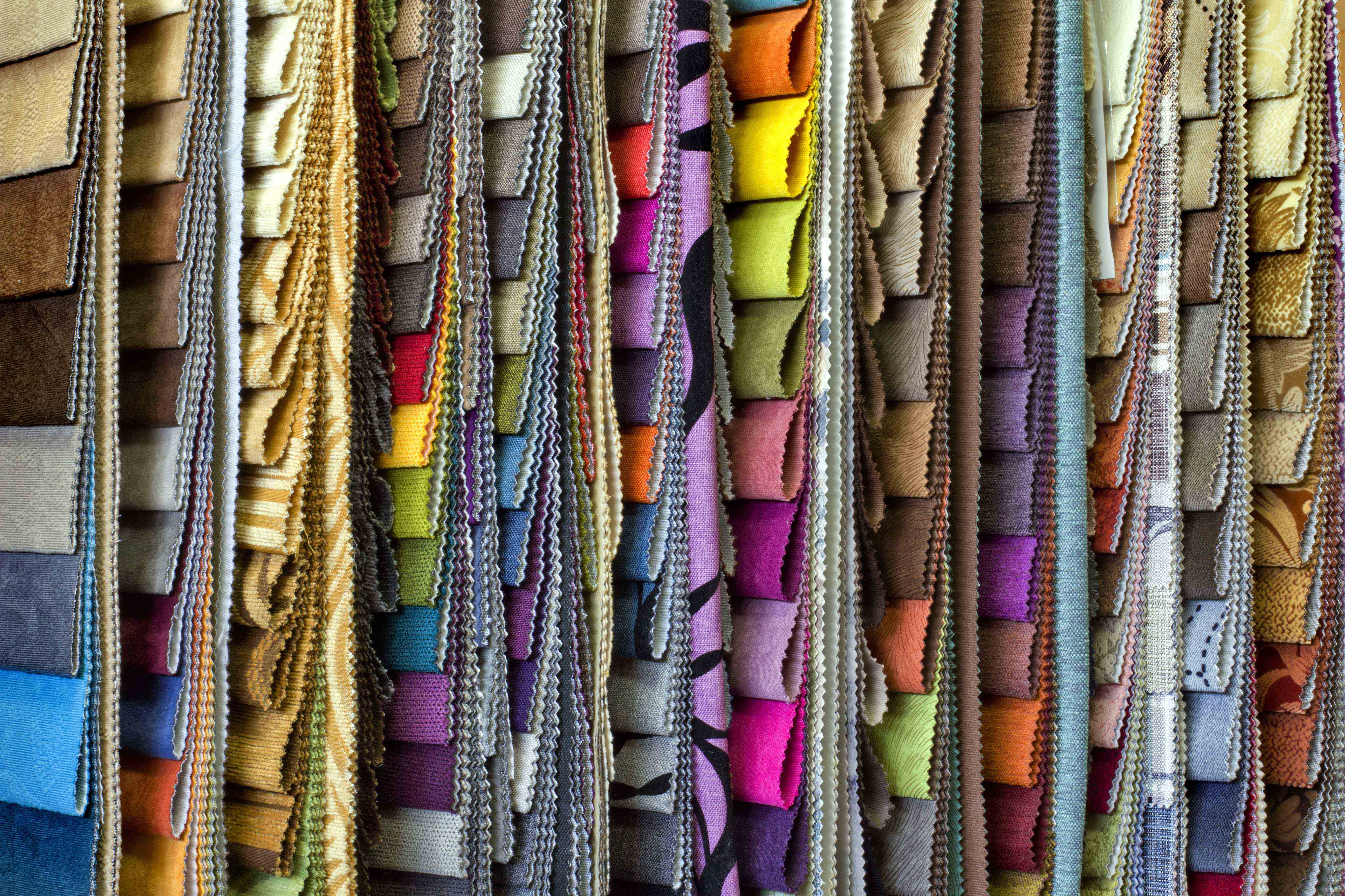 set of multi-colored upholstery samples for upholstered furniture